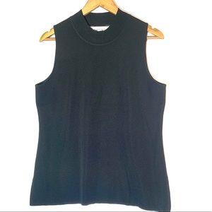 Exclusively Misook•Black Mock Neck Knit Blouse L